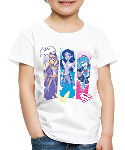 Spreadshirt DC Super Hero Girls Batgirl Wonder Woman Supergirl Kinder Premium T-Shirt, 134/140 (8 Jahre), Weiß Batgirl Girl
