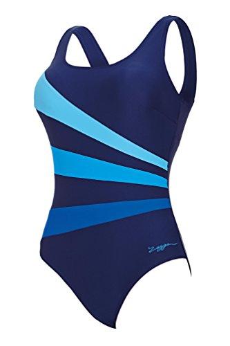 Zoggs Damen Badeanzug Craftwork Sandon Scoopback marineblau/blau