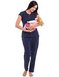 e219ef4c95870 ZEYO Women's Cotton Navy Blue & Pink Feeding Night Suit,Floral Print  Nursing Night Dress