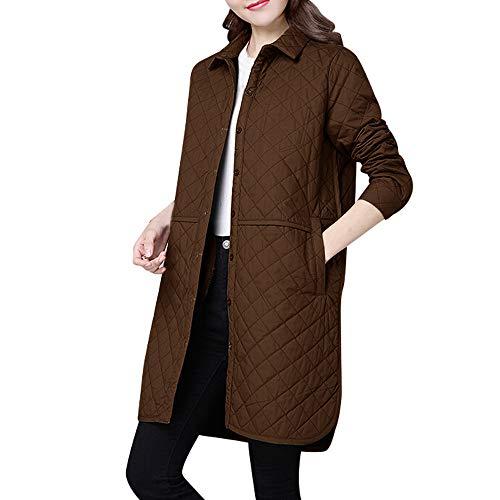 sunnymi Frauen Mantel Slim Mode Langarm Plaid Warme Jacke Outwear Cardigan
