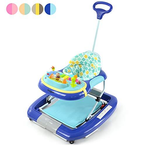 *Daliya BEBISTEP 4in1 Spiel- und Lauflernwagen – Babywalker – Babywippe mit Musik- & Spielecenter & Esstisch – Farbe Blau*