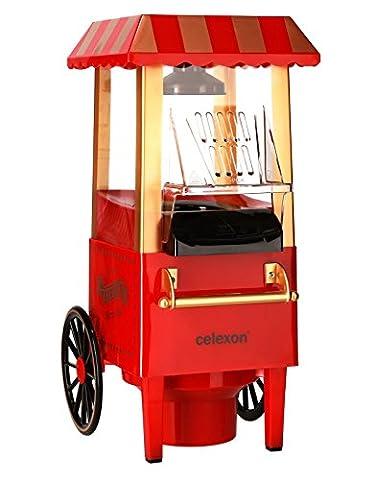 celexon CinePop CP500 Popcornmaschine rot im Retrolook   Komplett zerlegbar & einfach zu reinigen   Keine Zugabe von Öl - Popcorn Maker für fettarmes Popcorn