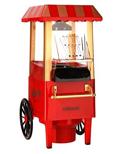 celexon CinePop CP500 Popcornmaschine rot im Retrolook | Komplett zerlegbar & einfach zu reinigen | Keine Zugabe von Öl - Popcorn Maker für fettarmes Popcorn