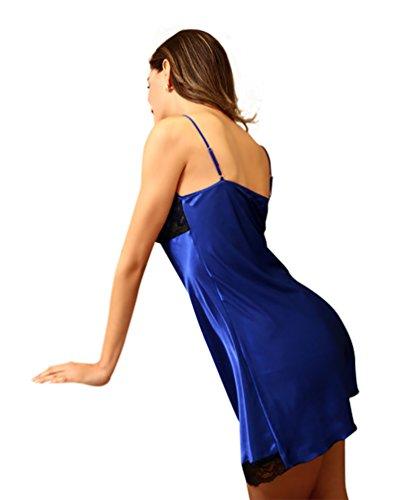 NiSeng femme peignoir brodé satin vêtement de nuit robe fronde dos nu Bleu Saphir