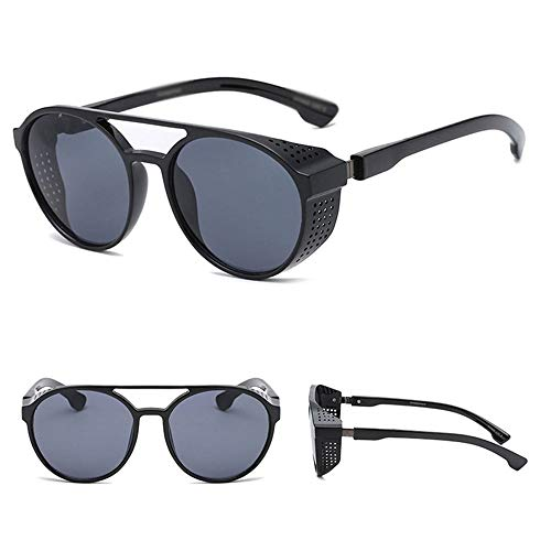 Szblk Sonnenbrille UV-Schutz Harz Sonnenbrille Outdoor-Sonnenbrille Angeln Sonnenbrille Mode Sonnenbrille Vintage Sonnenschirm Large Frame Oval Brille (Color : Black)