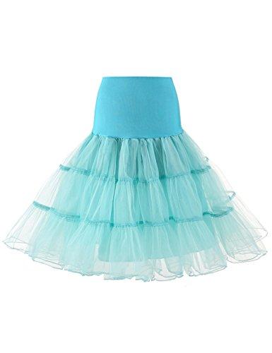 HUINI Petticoat Unterrock Reifrock Vintage 50er Retro Tutu Underskirt Elastische Taille Tüll für Rockabilly Swing Kleid Brautkleid Hochzeit Crinoline Minze XL (1950 Minze Kleid)