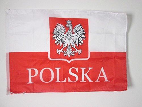 FLAGGE POLEN MIT ADLER ALTERNATIV 90x60cm - POLNISCHE FAHNE 60 x 90 cm scheide für Mast - freiner polyester flaggen AZ FLAG (Polnische Flagge)