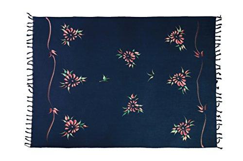 Ca 200 Modelle Großer Sarong Lunghi Dhoti Handtuch Strandtuch Schal Handarbeit Blickdicht ca 170cm x 110cm Viele tolle Farben zur Auswahl Made by El Vertriebs GmbH Grau Blau Blume