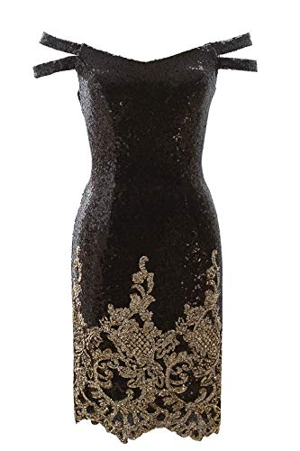 MACloth Women Short Black Sequin Gold Floral Homecoming Party Cocktail Dresses (36, Black) -