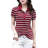 WSPLYSPJY Women's Slim Fit Casual T-Shirt Lapel Short Sleeve Stripe Polo Shirt Wine Red M