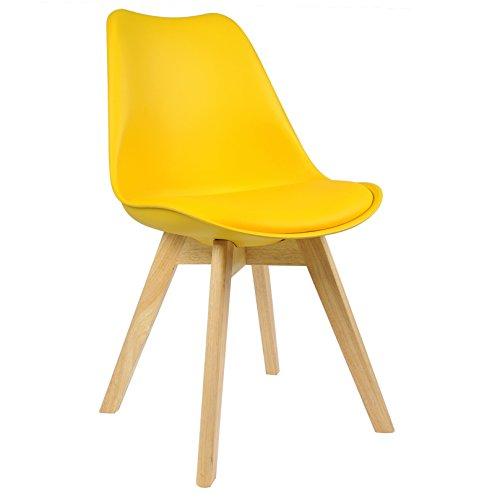 Silla de comedor nórdica amarilla con patas de madera