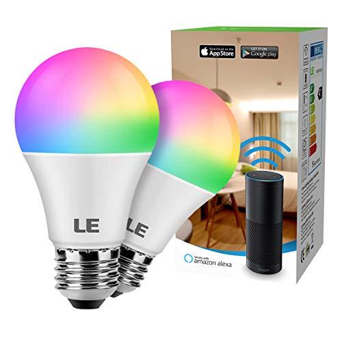 LE WiFi Smart Lampe, 9W Dimmbar Smart LED Birne, E27 RGB + Warmweiß Farbwechsel, kompatibel mit Alexa (Echo, Echo Dot), Google Home und IFTTT Fernbedienung, Kein Gateway erforderlich, 2 Pack