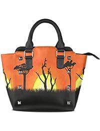 3484daf27b LIANCHENYI PU Leather Top-Handle Handbags Africa Beautiful Landscape Single-Shoulder  Tote Crossbody Bag