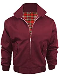 Mens Harrington Vintage Retro Mod Jacket - BURGUNDY - L