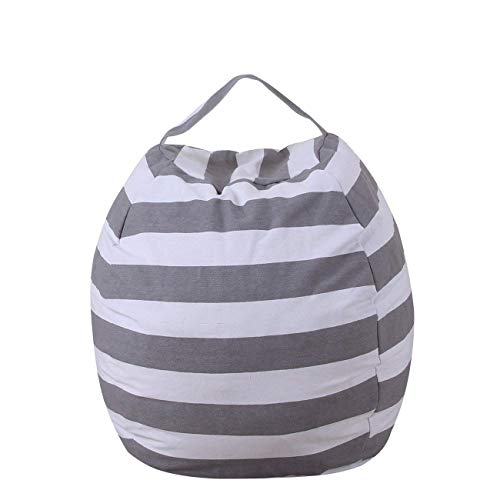 THEE Canvas Storage Bag Organizer Bag for Stuffed Animal Plush Toy Clothes Quilts Bean Bag Chair Cover Without Filler