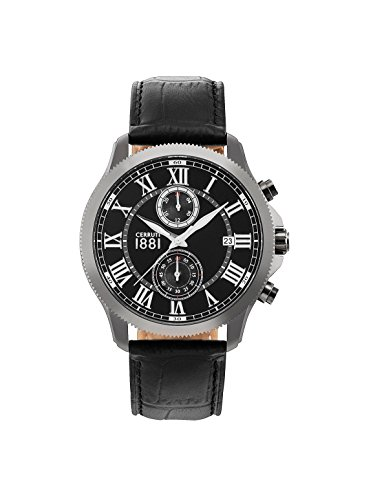Cerruti 1881 Mens Analogue Classic Quartz Watch with Leather Strap CRA152SUS02BK