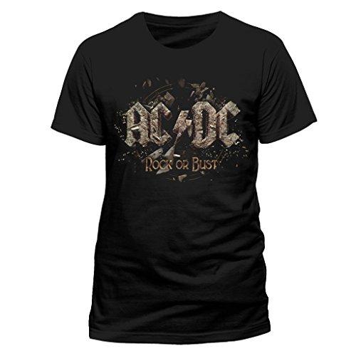 Oficial de ACDC Rock Or Busto Heavy Metal Tee Camiseta Ropa para hombre señoras para mujer Unisex negro negro XL
