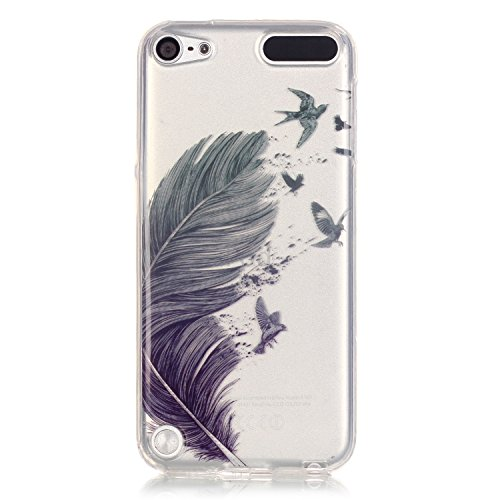 Qiaogle Téléphone Coque - Soft TPU Silicone Housse Coque Etui Case Cover pour Apple iPhone 5 / 5G / 5S / 5SE (4.0 Pouce) - XS04 / Cute pink bear XS01 / Bleu feathers and freedom