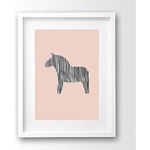 Kinderposter ungerahmt, Dala Pferd skandinavisch, Streifen, rosa