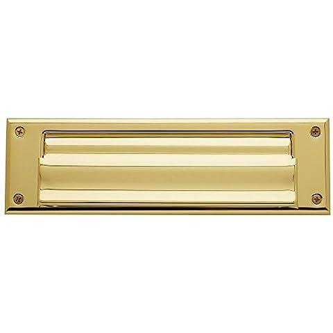 Baldwin 0017.003 Hinged Magazine Size Letter Box Plate, Lifetime Polished Brass by (Baldwin Magazine)