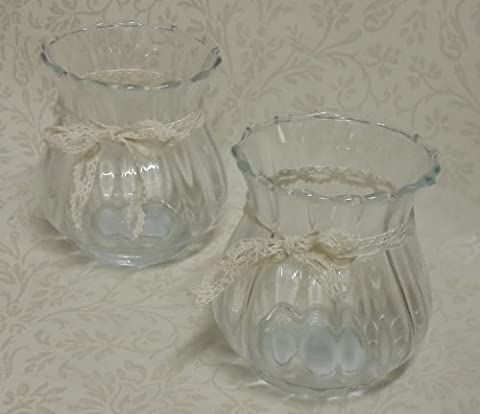 Set of Two Fluted ribbed Hurricane Glass for T Lights or candles holder with vintage lace ribbon