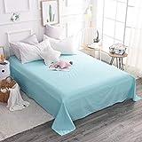 PENVEAT Einfaches, flaches Bettlaken (ohne Gummiband) Matratzenschutzhülle Weiche Baumwollbettwäsche Bettlaken Größe anpassen, 4602,140x230cm