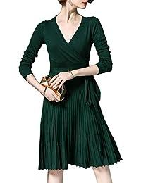 La Robe Taille Haute, Plissée Knit Wrap Robe De Bal avec Ceinture 96788d53d01