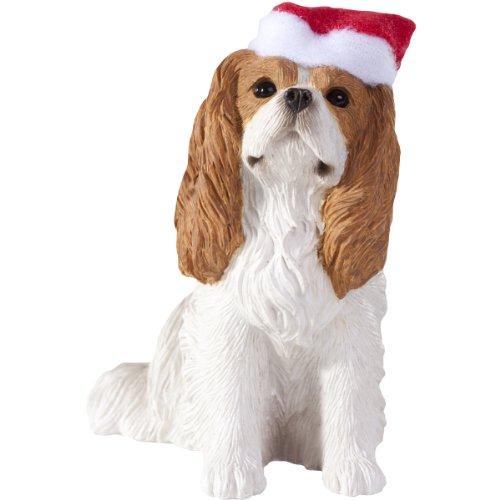 Sandicast Blenheim Cavalier King Charles Spaniel with Santa Hat Christmas Ornament -