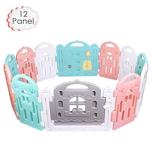 Amzdeal Laufgitter Laufstall Baby - Absperrgitter für Kinder aus Kunststoff mit Schutz Tür und Spielzeug, Stabiler und Sicherer Krabbelgitter für Kinder von 6 Monaten bis 6 Jahren, 10 + 2 Elemente
