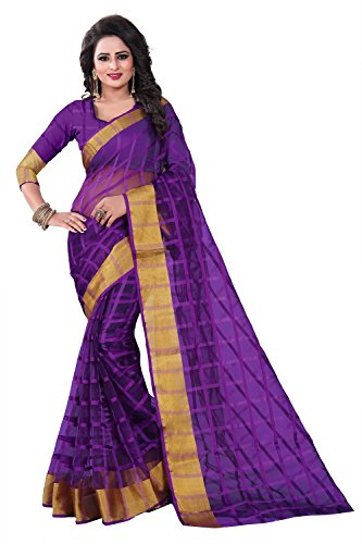 Aligan's Purple Color Poly Cotton Printed Saree - RI339_S_PC-286