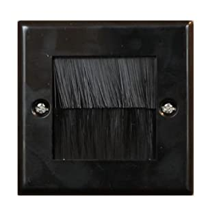 electrosmart Black Single Gang Brush Strip Wallplate/Wall Plate/Faceplate Cable Tidy for Wall Mounted Plasma TV etc