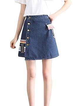 Mini falda corta mujer y niña, QinMM falda vaquera floral vaquera