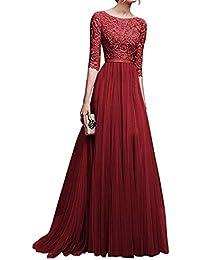 Vestidos de fiesta color vino con encaje