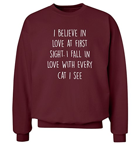 I believe in love at first sight. I innamorarsi ogni gatto cfr. maglia Felpa uomo, taglie XS-XXL Bordeaux XX-Large