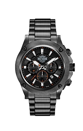 Harley Davidson Men's Quartz Watch with Black Dial Chronograph Display and Black Stainless Steel Bracelet 78B127