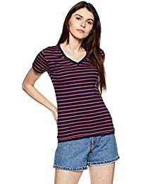 Symbol Amazon Brand Women's Striped Regular Fit T-Shirt