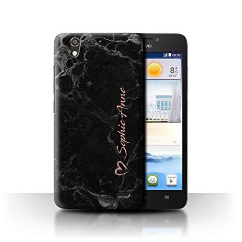 Stuff4® Personalisiert Individuell Roségold Endlos Marmor Hülle für Huawei Ascend G630 / Roségold Herz Unterschrift Design/Initiale/Name/Text Schutzhülle/Case/Etui