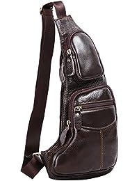 Leathario bolso mochila de pecho piel cuero para hombres con La primera capa cuero para diario o trabajo.