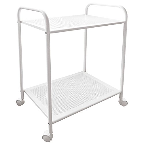 Laroom Carrito Ancho 4 cajones Blanco Chrome Acero Inoxidable Structure y PP Drawers