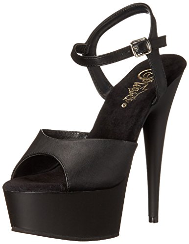 Pleaser Delight-609, Sandales Plateau femme noir (Blk Faux Leather/Blk Matte)