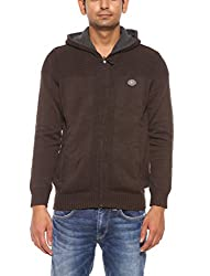 Spykar Mens Olive Regular Fit Mid Rise Sweaters (Large)