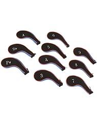 Gazechimp 10pcs/Set Schlägerkopfhüllen aus Neopren mit Reißverschluss Golfclub Zubehör Golf Eisenhauben Schlägerkopf Schutzhülle