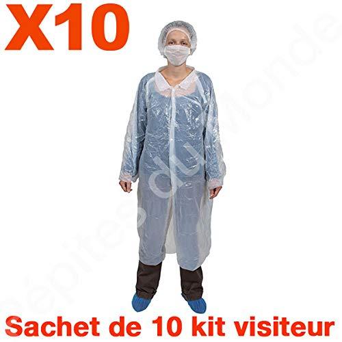 Charlotte Bluse (Pépites du Monde PDM-KVR01-10 Einweg-Schutz-Set für Bluse Charlotte Überschuhe Maske 10 Beutel 10 Stück)