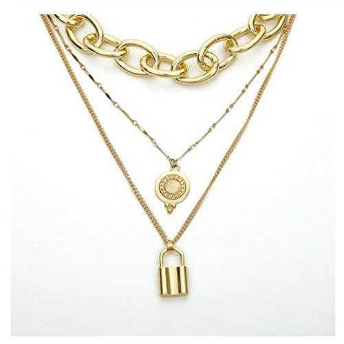 BULINGBL Necklace Halskette Mehrschichtige Aluminium Choker Halskette Kragen Aussage Legierung Lock Anhänger Halskette Für Frauen Schmuck Geschenke -