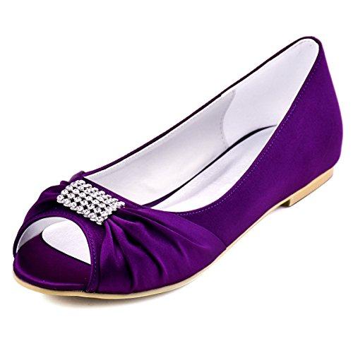 Elegantpark EP2053 Bout Ouvert Satin Strass Femme Plates Chaussures de Mariage Violet