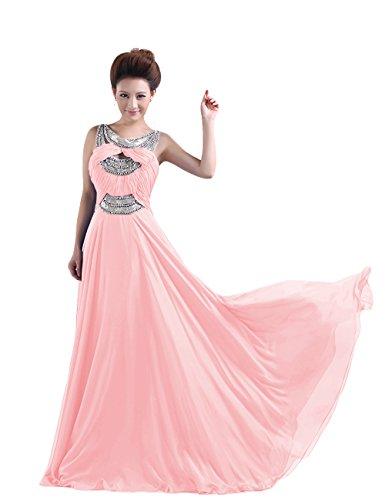 Dressystar Robe de soirée formelle/de Cérémonie Longue, Perlée, à Brosse/ Balayage/pinceau traîne, au drapé, en Mousseline Rose