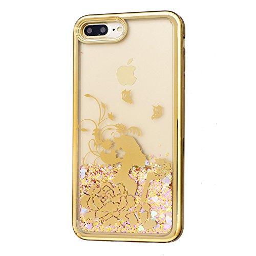 Coque pour iPhone 7 Plus, LANDEE Transparente Liquide Paillette Brillante Plastique Arrière Protecteur Dur Etui Housse de Protection Étui Coque Strass Case Cover pour iPhone 7 Plus(iphone 7 Plus-HXLS- iphone 7 Plus-HXLS-02