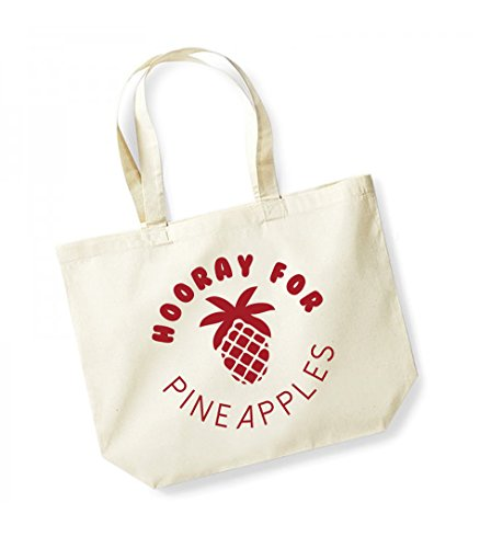 Hooray For Pineapples - Large Canvas Fun Slogan Tote Bag Natural/Red