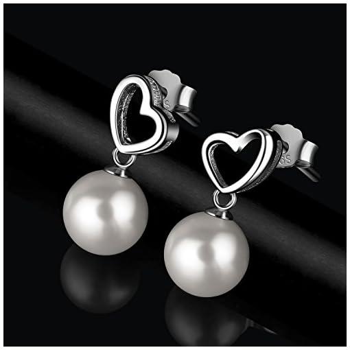 1e7f0c344169 Perlas Pendientes Mujer Plata de Ley 925 corazón D.Perla Perla Joyas ...