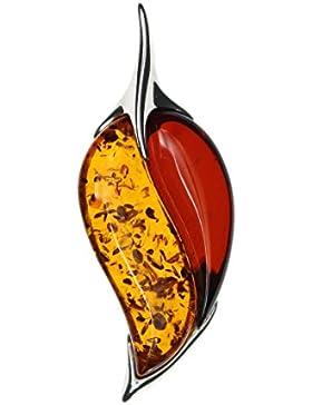 Bernsteinschmuck Anhänger für Kette blattförmig multicolor Natur Bernstein gefasst in 925/000 Sterling Silber...
